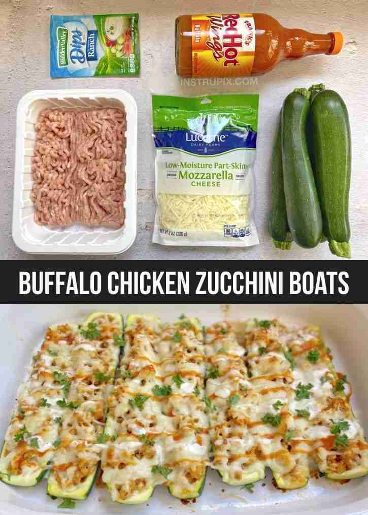 Low Carb!! Buffalo Chicken Zucchini Boats (Quick & Easy Dinner Recipe)