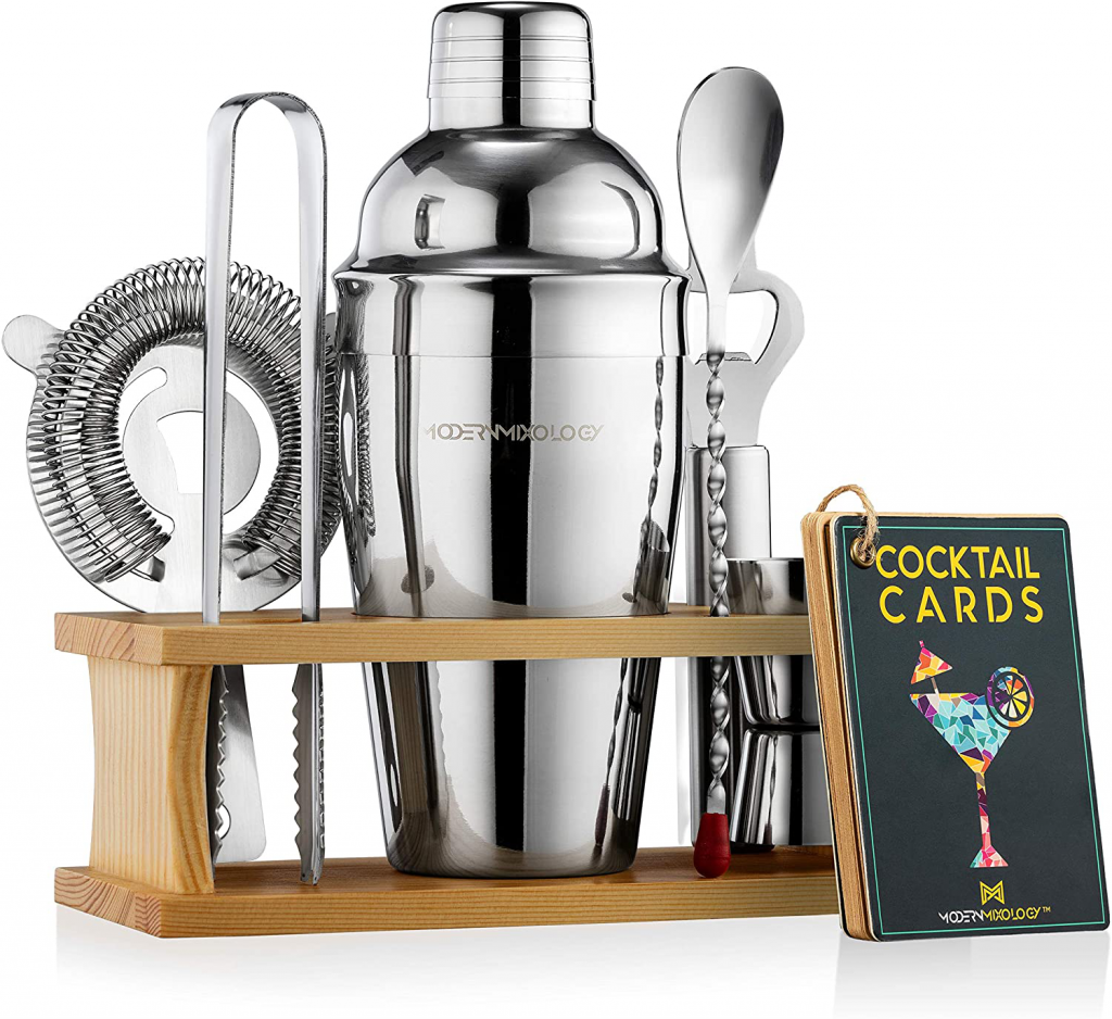 Mixology Bartender Kit with Stand   Bar Set Cocktail Shaker Set for Drink Mixing – Bar Tools: Martini Shaker, Jigger, Strainer, Bar Mixer Spoon, Tongs, Bottle Opener   Best Bartender Kit for Beginners – Silver – Dark Stand