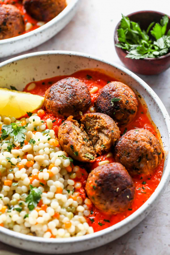 Moroccan Lentil Meatballs with Roasted Red Pepper Sauce