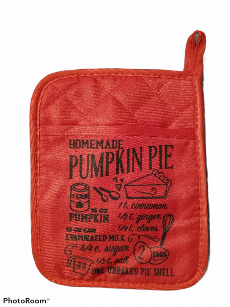 Pumpkin Pie Recipe Pot Holder – Red / Pot Holder