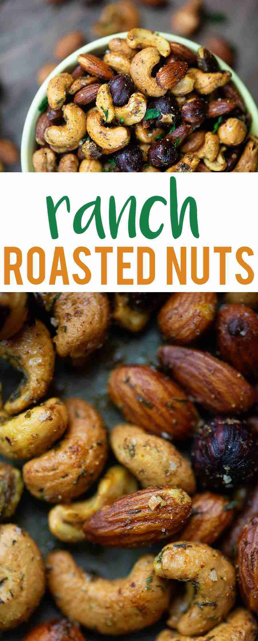 Ranch Roasted Nuts! This little snack is low carb and so simple to make! #lowcar…