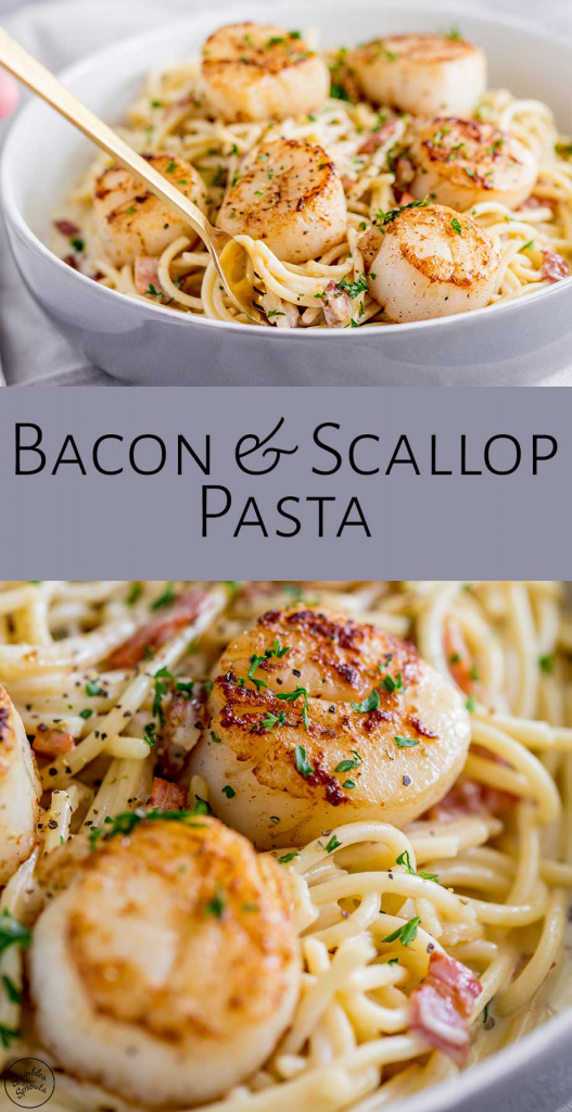 Seared Scallop Pasta with Creamy Bacon Sauce   Sprinkles and Sprouts