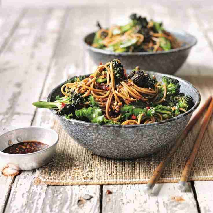 Soba noodles with broccoli and sweet soy, ginger and chilli dressing