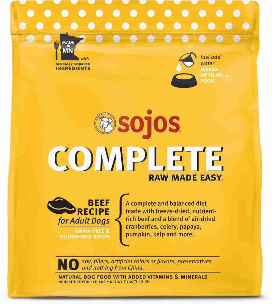 Sojos Complete Beef Recipe Adult Grain-Free Freeze-Dried Raw Dog Food – 7-lb bag