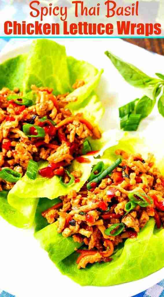 Spicy Thai Basil Chicken Lettuce Wraps – Skinny Southern Recipes