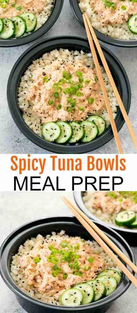 Spicy Tuna Bowls with Cauliflower Rice Meal Prep