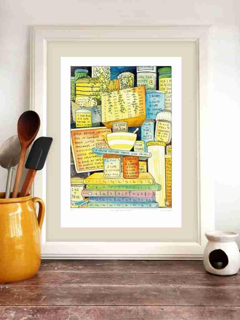 Topsy Turvy Kitchen Chart – art print – A3