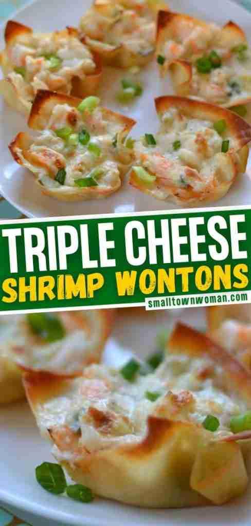 Triple Cheese Shrimp Dip Wontons