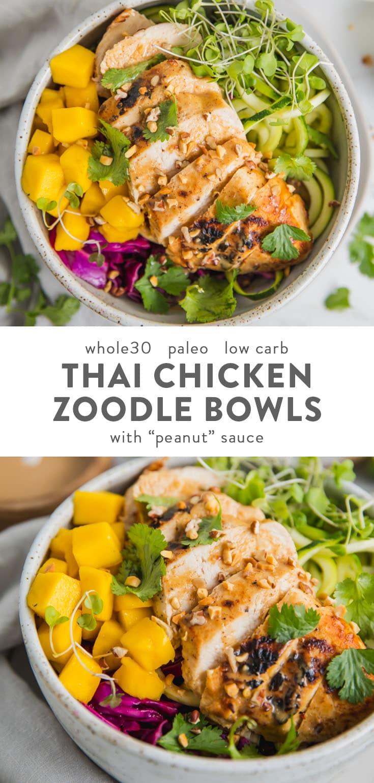 """Whole30 Thai Chicken Zoodle Bowl (""""Peanut"""" Sauce, Paleo, Low Carb)"""