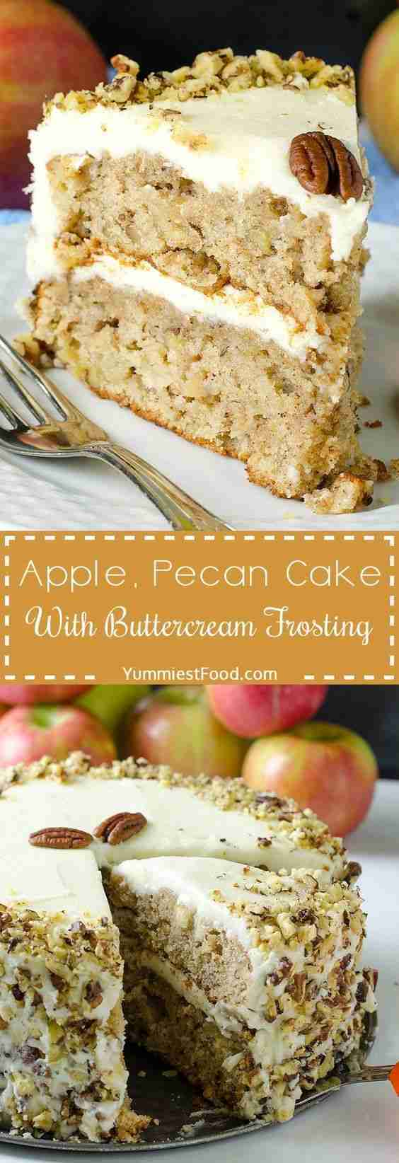 Apple, Pecan Cake With Buttercream Frosting