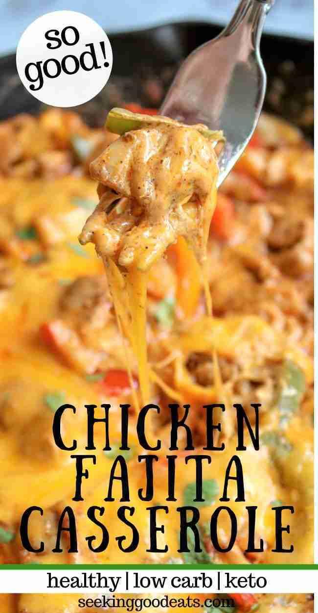 Chicken Fajita Casserole! One skillet easy.