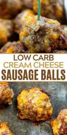 Cream Cheese Sausage Balls are a low carb snack or appetizer that the whole fami…