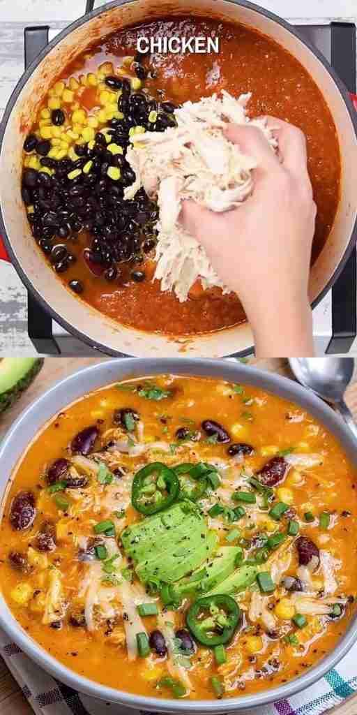 Creamy Chicken Enchilada Soup [Video]   Recipe [Video]   Chicken enchilada soup recipes, Enchilada s