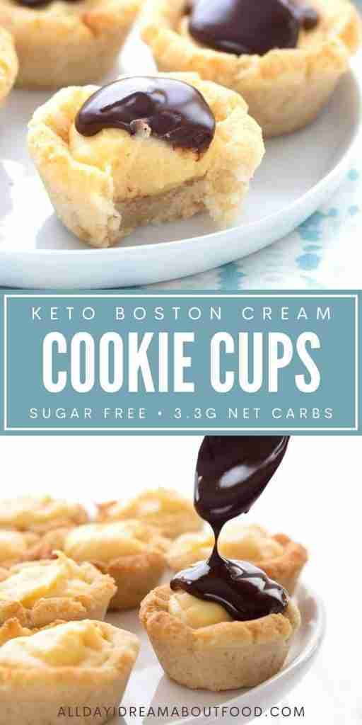 Keto Boston Cream Pie Cookie Cups