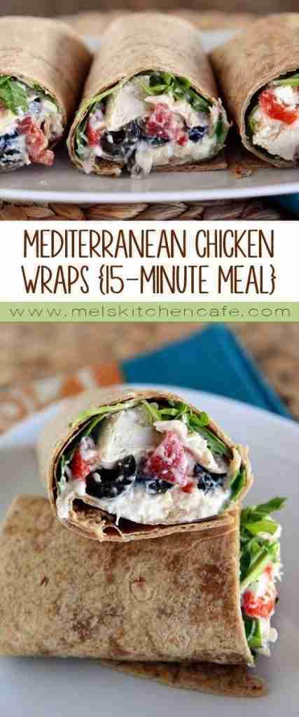 Mediterranean Chicken Wraps {15-Minute Meal}