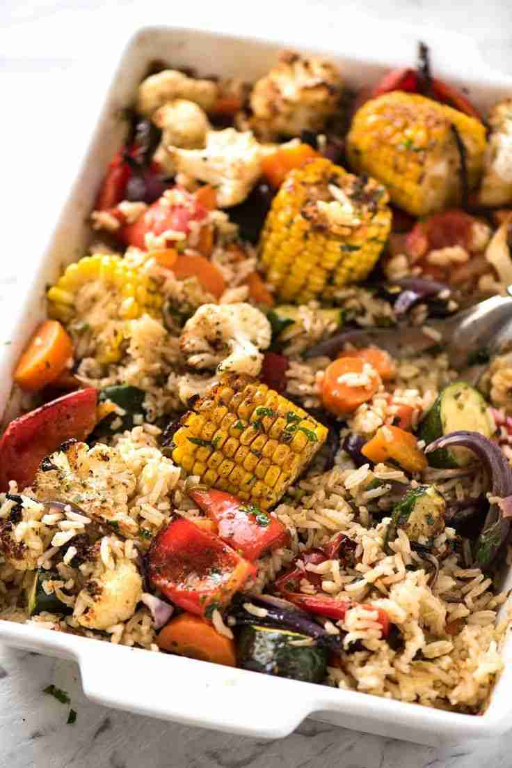 Oven Baked Rice and Vegetables (ONE PAN!!)