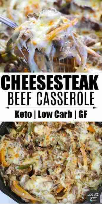 Philly Cheesesteak Casserole (Keto, Low Carb) –