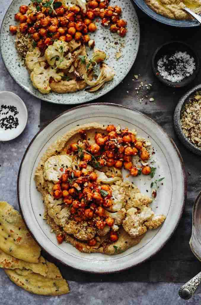 Roast Cauliflower, Baba Ganoush, Spiced Harissa Chickpeas & Dukka – Rebel Recipes