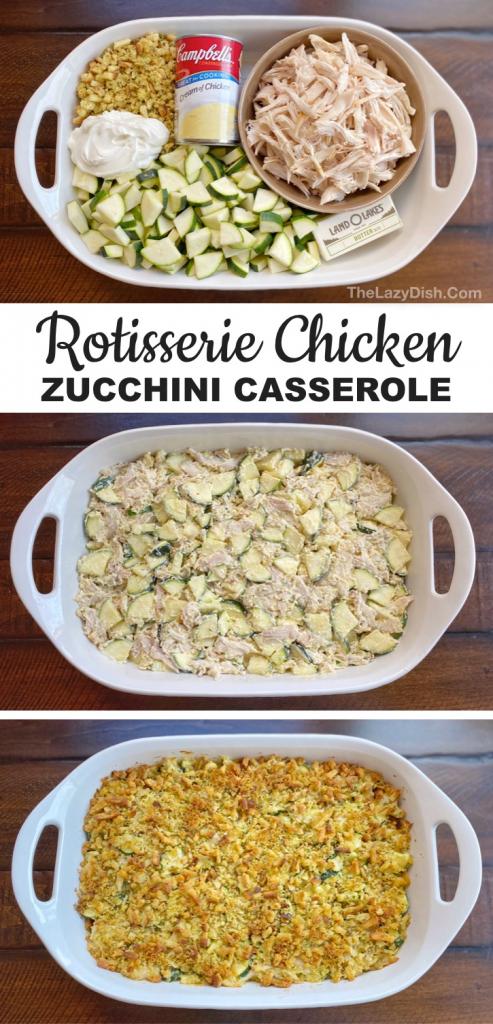 Rotisserie Chicken & Zucchini Casserole (Easy Dinner Recipe For The Family)