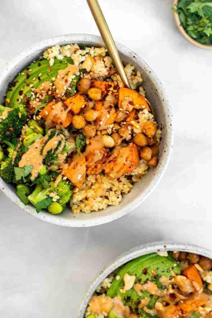 Spicy Thai Peanut Sweet Potato Buddha Bowls