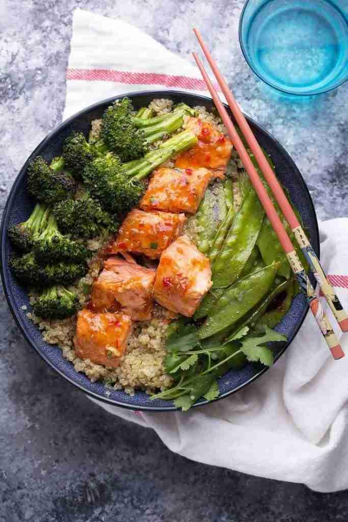 Sweet Chili Salmon & Broccoli Quinoa Bowl