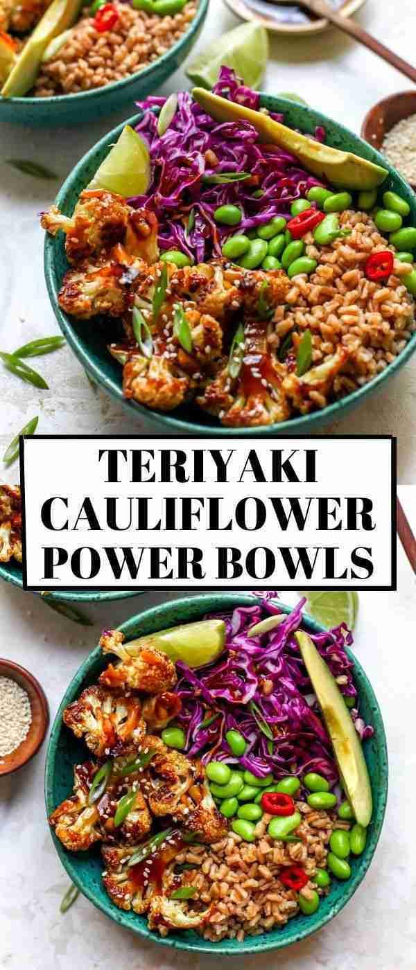 Teriyaki Cauliflower Power Bowls (Vegan, Gluten Free)   Recipe   Healthy bowls recipes, Vegan bowl r