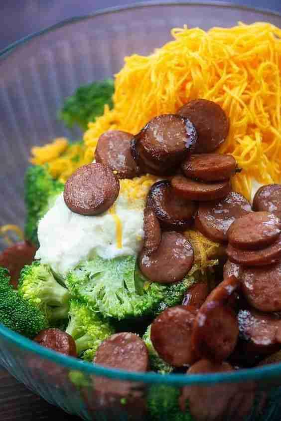 ingredients for broccoli cheddar casserole in glass bowl #RecipesForDinnerHealth…